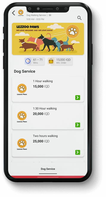 Dog walking services are available on Lezzoo too.