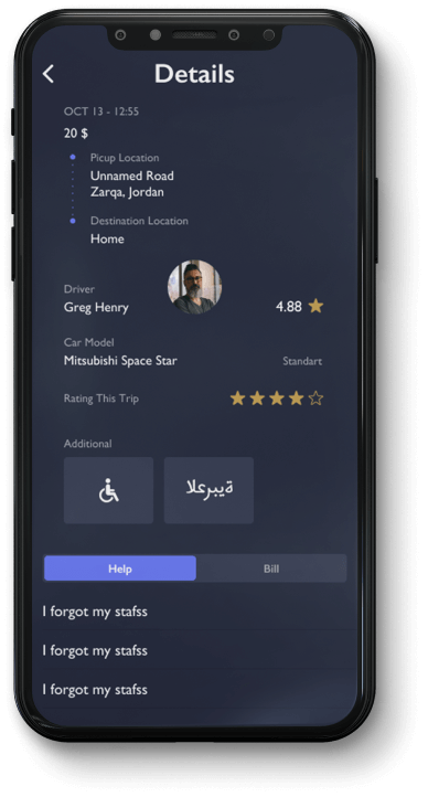 Here is the screen with driver profile in Queen Car app.