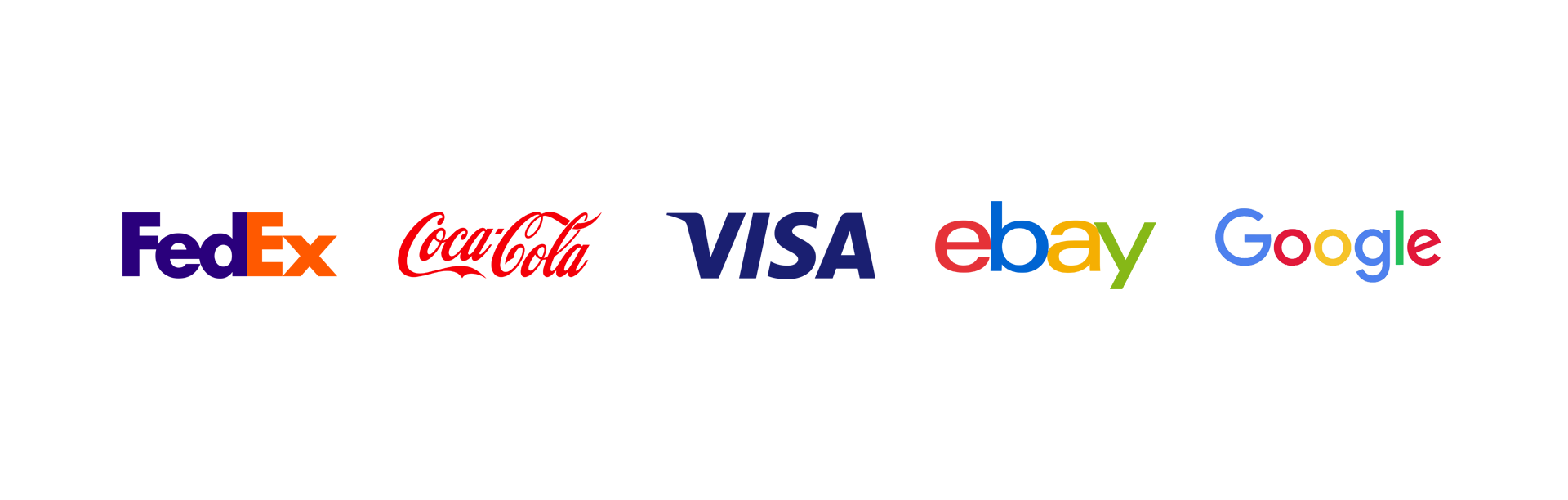 Wordmark, FedEx, Coca-Cola, Visa, eBay, Google