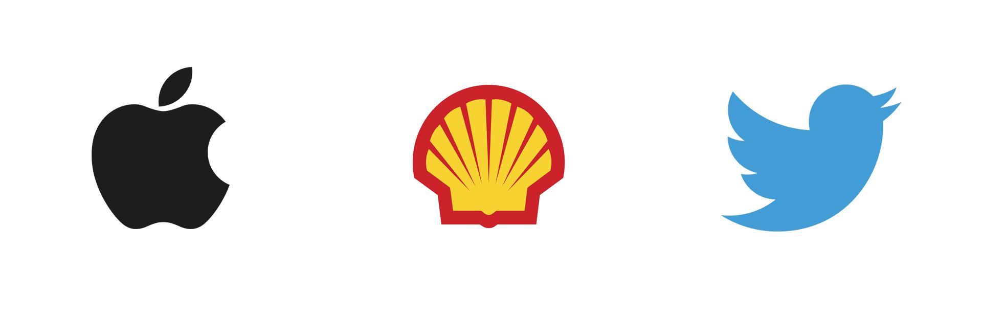 Symbolic Logotype or Logomark, Apple, Shell, Twitter