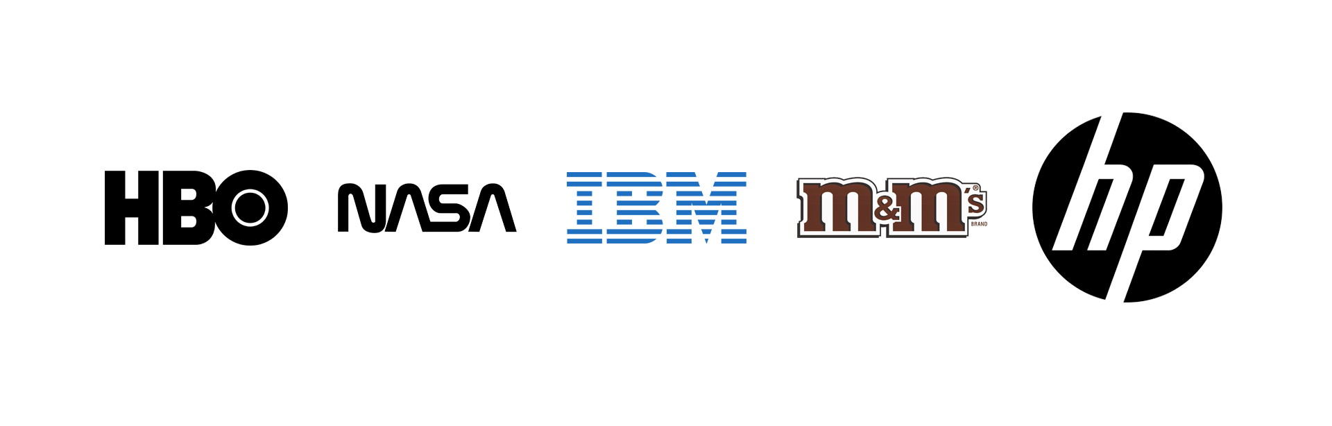 Lettermark, HBO, NASA, IBM, M&M's, HP