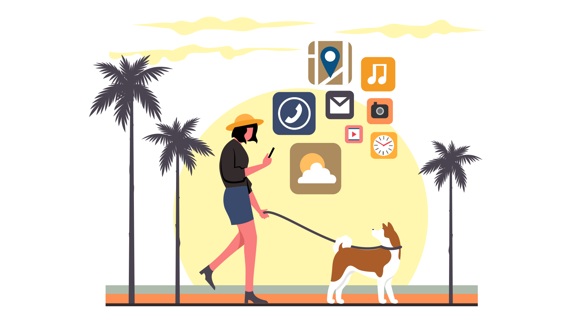 The creation of a dog walking application should cover three users' groups: dog owners, walkers, and service admins.