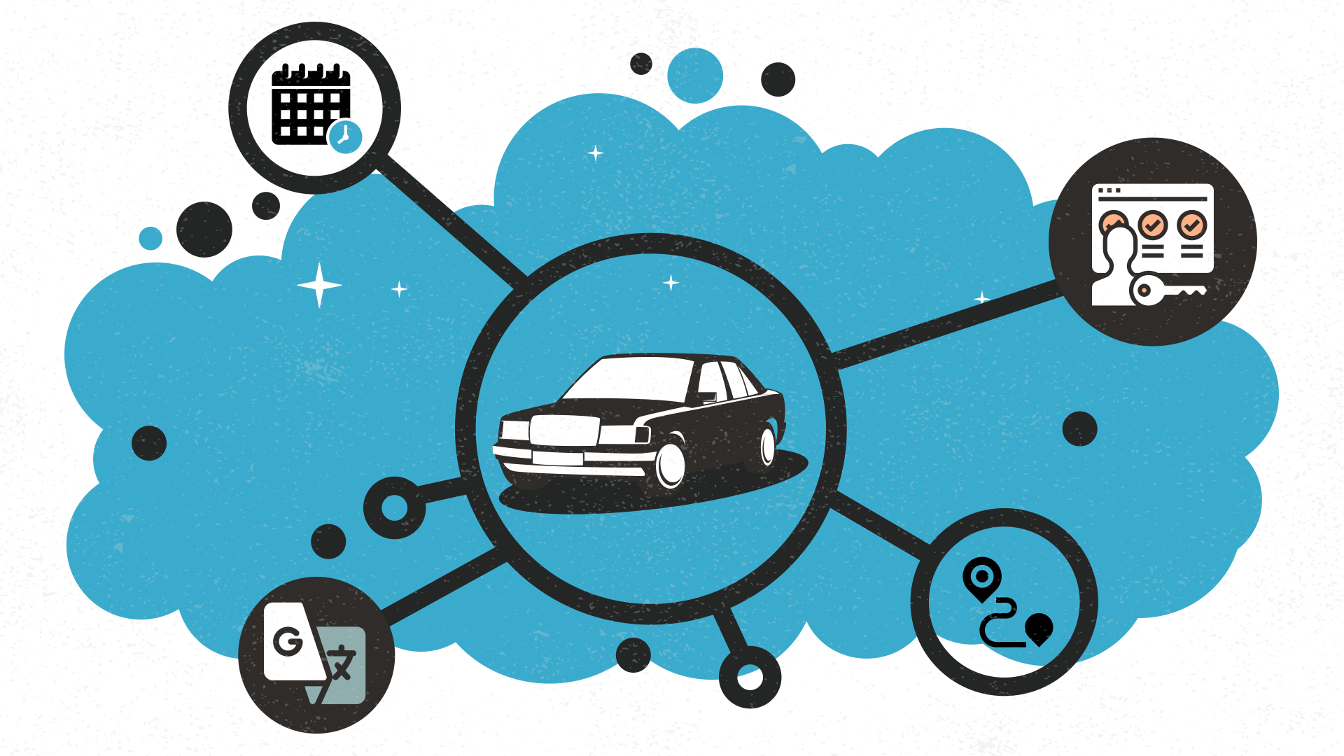 An app for renting personal cars should contain specific functions to cover three particular target audiences: passengers, drivers and company managers.