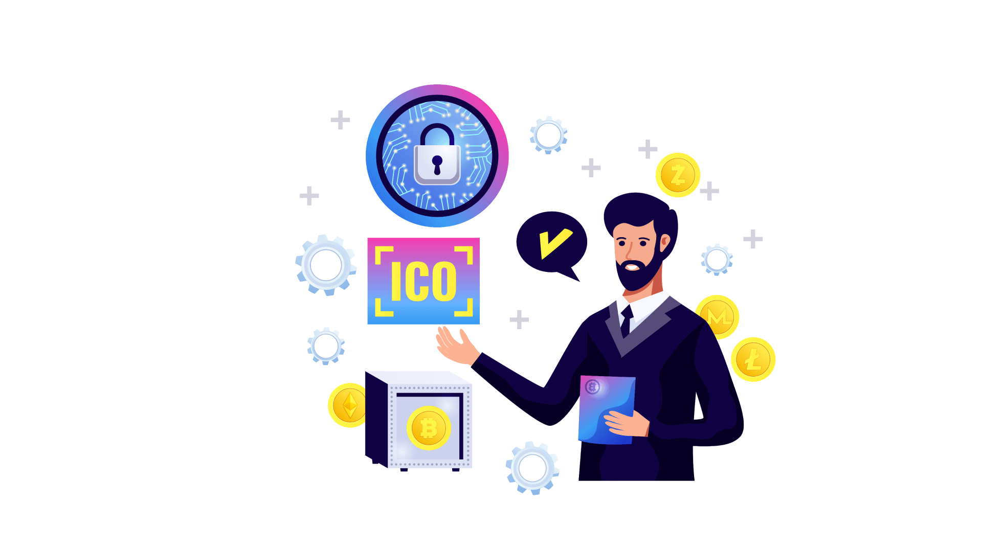 A regular ICO development process is split into 11 stages.